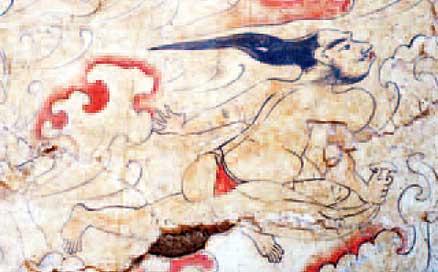"""Това изображение показва божество, което археолозите идентифицират като """"Господарят на вятъра"""", който е изобразен, носещ почти никакви дрехи."""